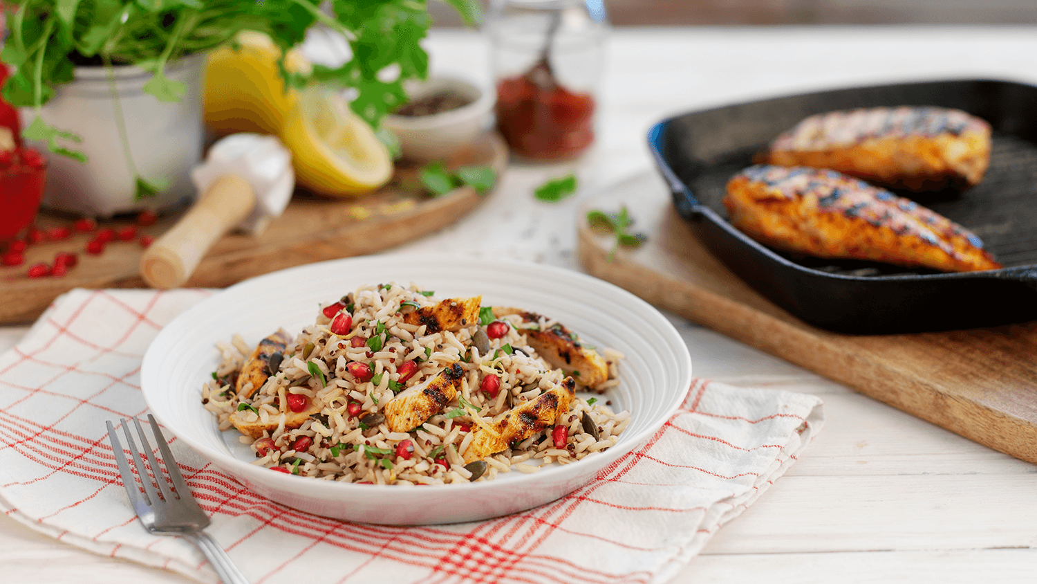 Zesty Lemon Chicken With Pomegranate & Coriander