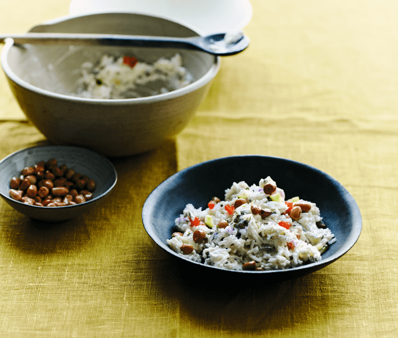 Yogurt Rice With Cucumber, Tomato & Fried Peanuts