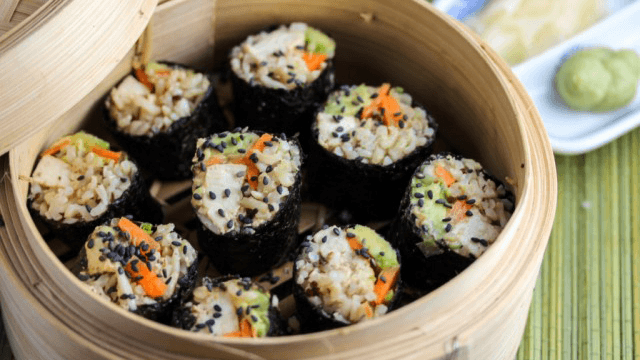 Tilda Quinoa and Brown Rice Sushi With Miso Tahini Tofu