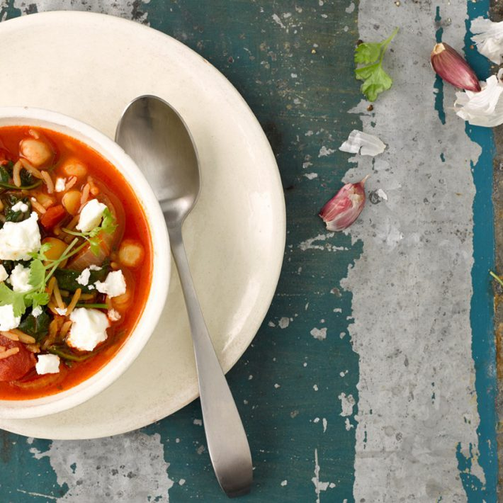 Italian Chickpea, Spinach & Rice Soup