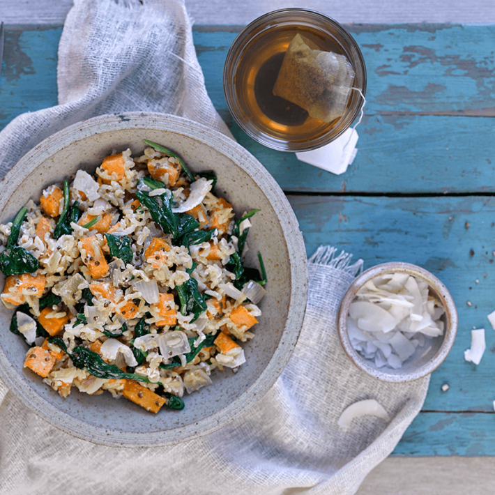 Sweet Potato, Spinach and Coconut Risotto