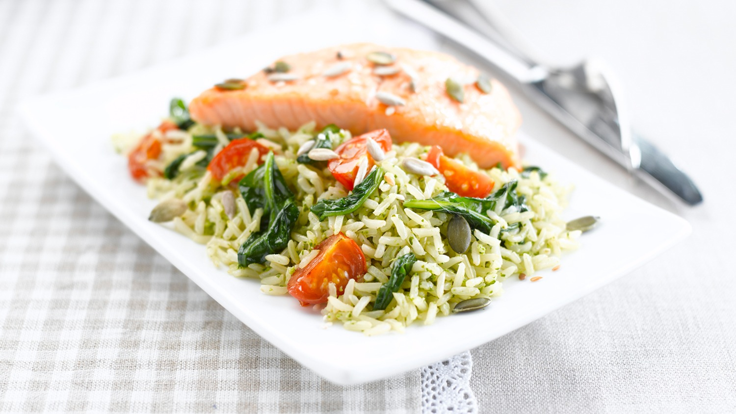 Superfood Rice with Salmon & Spinach Pesto