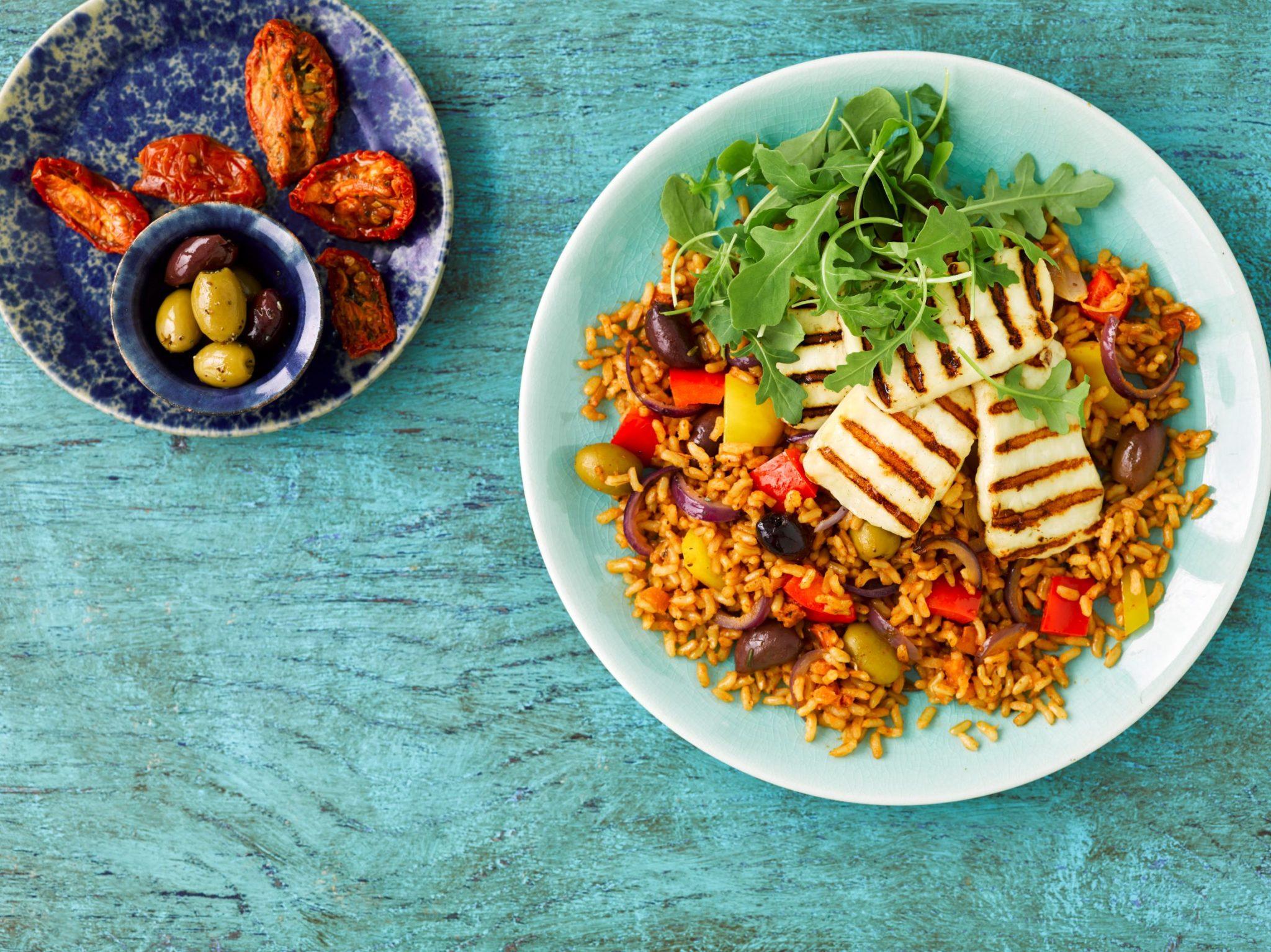 Mediterranean Grilled Halloumi Rice