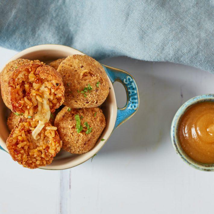 Spiced Basmati & Smoked Quinoa Rice Balls with Apple Ketchup