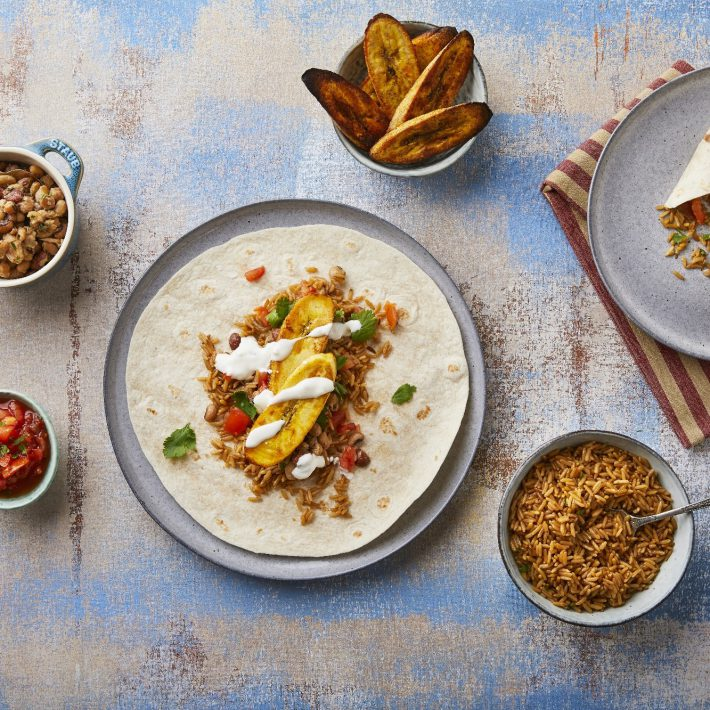 Roast Plantain Burrito with Mexican Rice