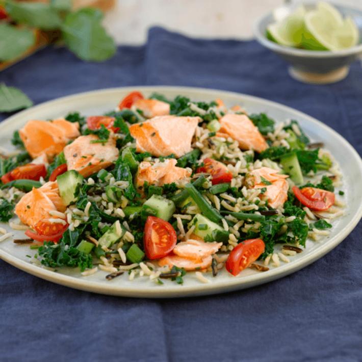 Salmon and Kale Wild Rice Salad
