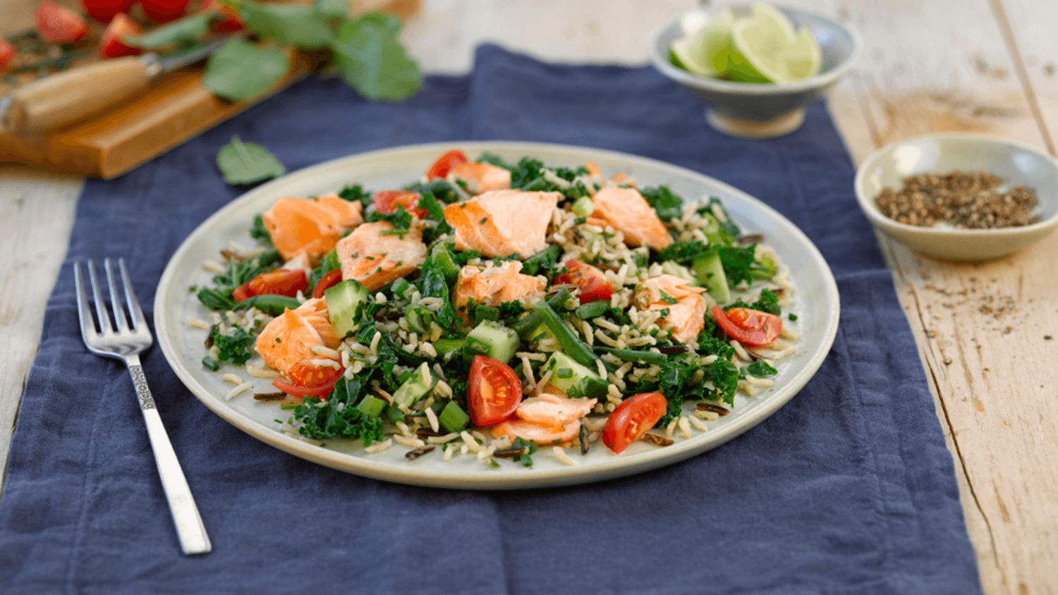 Salmon and Kale Wild Rice Salad
