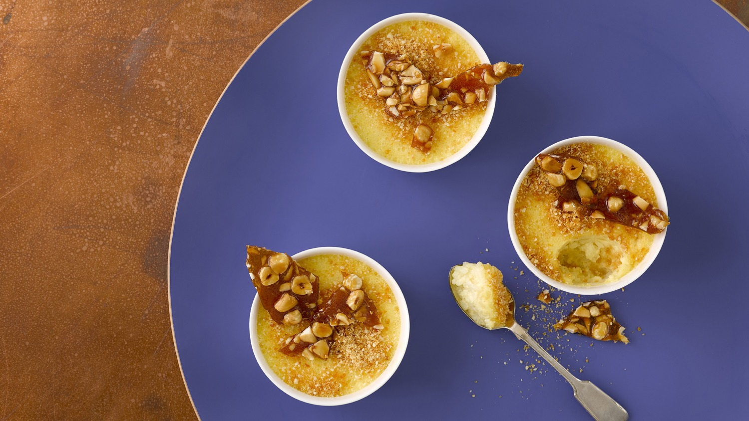 Rice Pudding Brulee with Salted Nut Praline