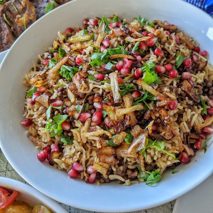 Mujadara - Lentils and Rice with Crispy Onions