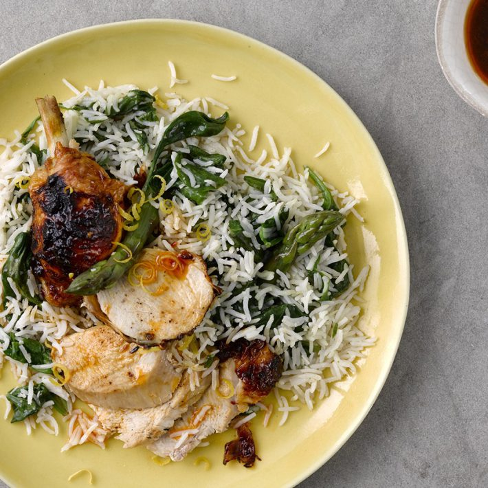 Lemon & Chilli Chicken with Asparagus & Coconut Rice