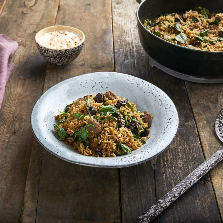 Lamb and Rice Tagine with Dried Cherries