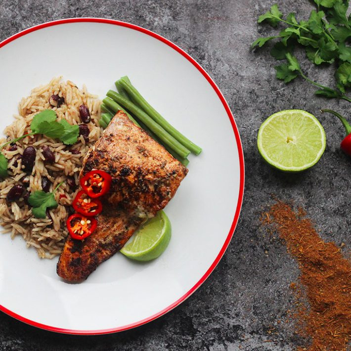 Jerk Salmon with Rice and Peas