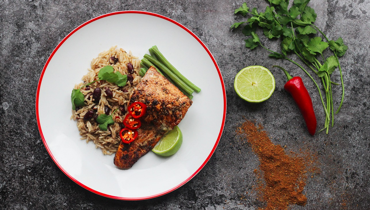 Jerk Salmon with Rice and Peas