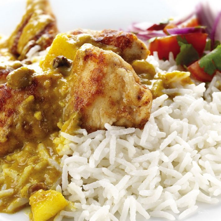 Exquisite Chicken with a Fruit Curry sauce and Coconut Basmati Rice