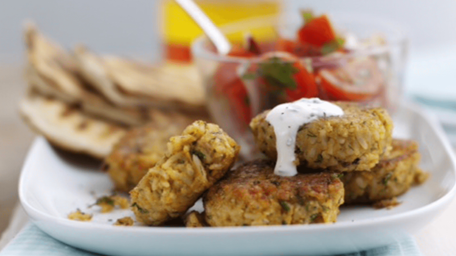 Easy Falafel Served With Tomato & Red Onion Salad