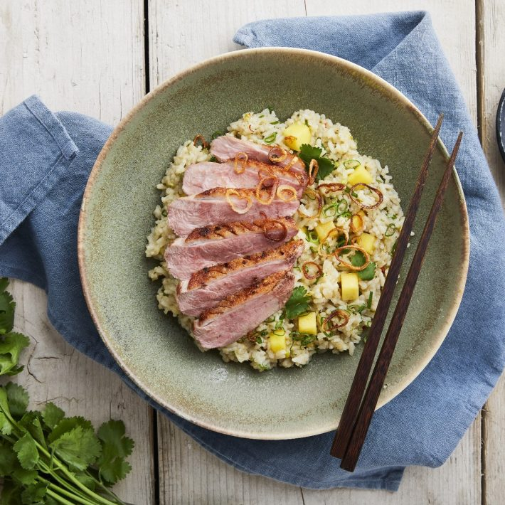 Duck Breast with Red Curry-Infused Jasmine Rice