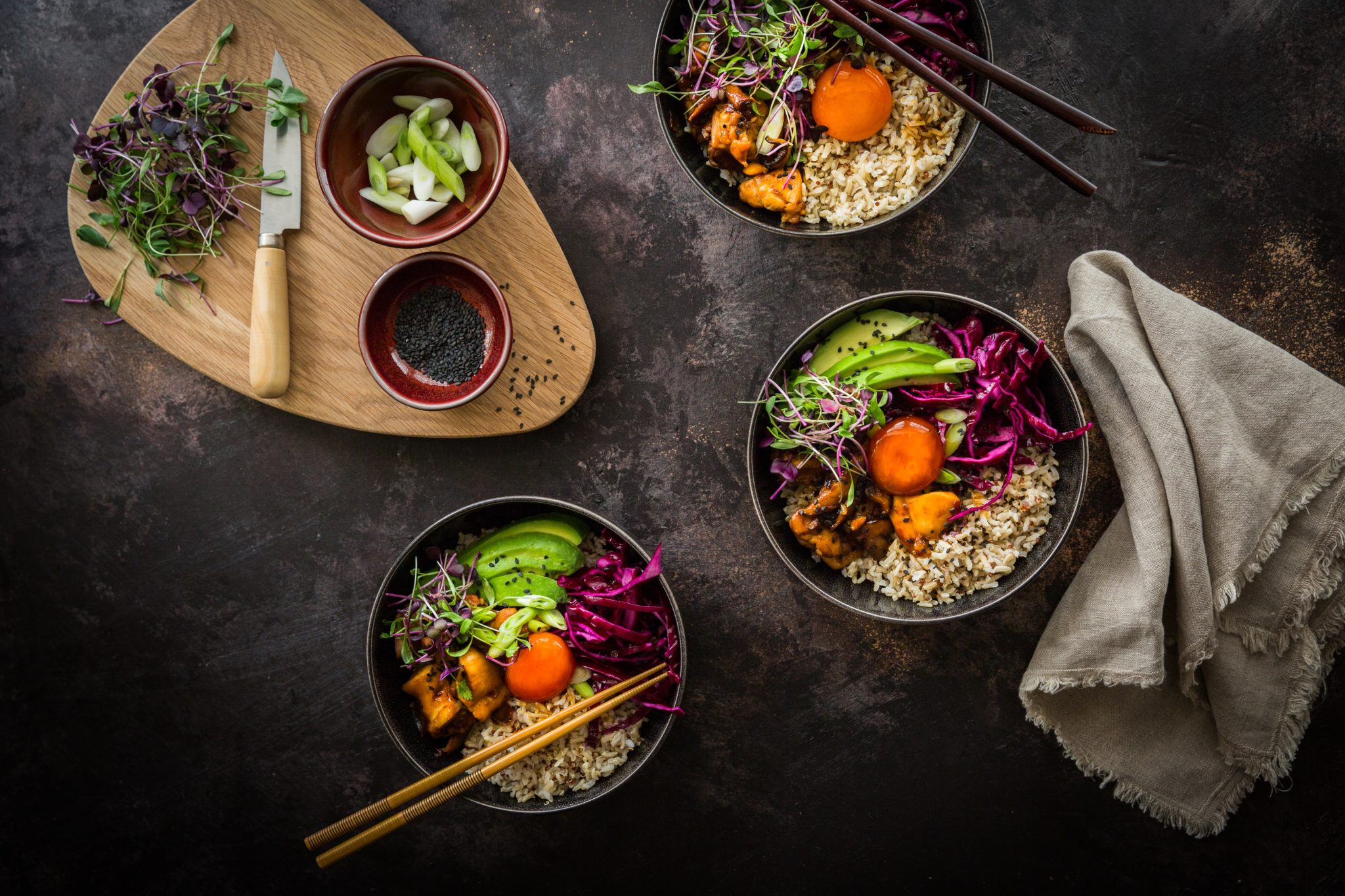 Chicken donburi with soy-cured egg and pickled cabbage