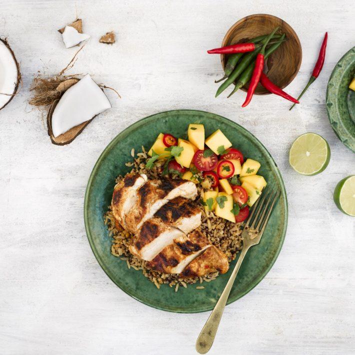 Super Grains - Cajun chicken and Mango Salsa