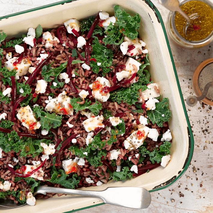 Beetroot, Kale & Feta Salad With Orange & Chilli Dressing