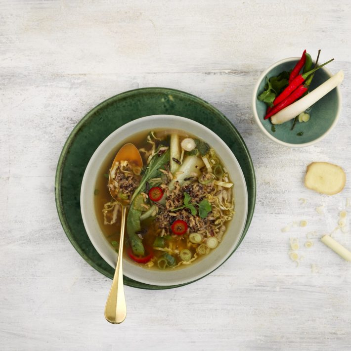 Super Grains - Asian Greens and Ginger Broth