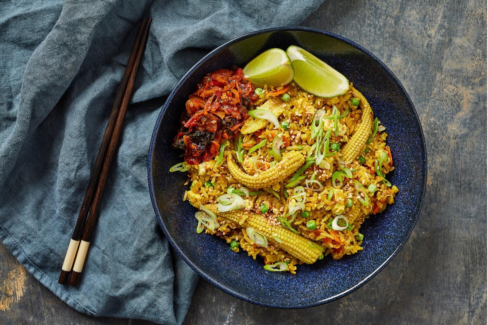 Vegan tofu-fried rice