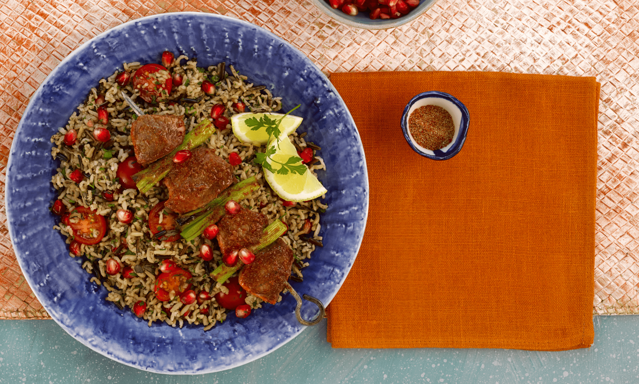 Tabbouleh with Spiced Lamb Skewers