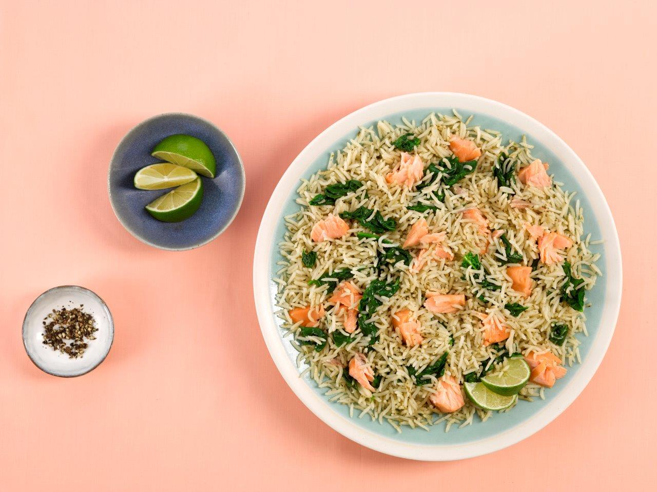 Spinach and Salmon Rice