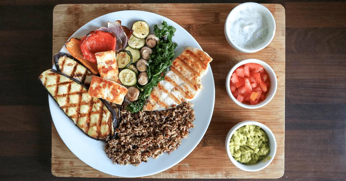 Grilled Chicken & Aubergine with Halloumi & Vegetables