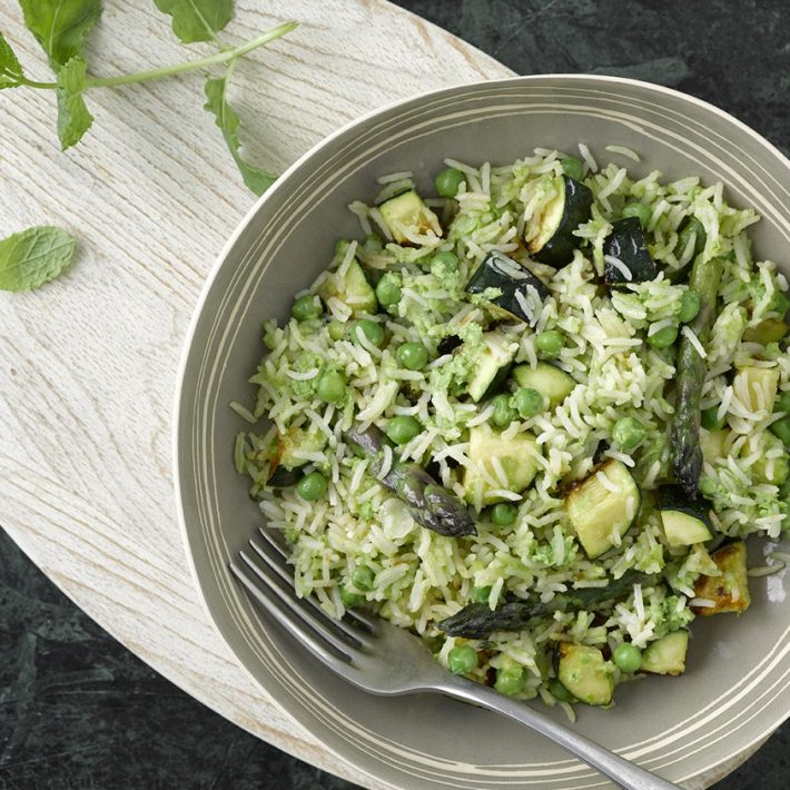 Courgette & Asparagus Risotto with Minted Pea Puree
