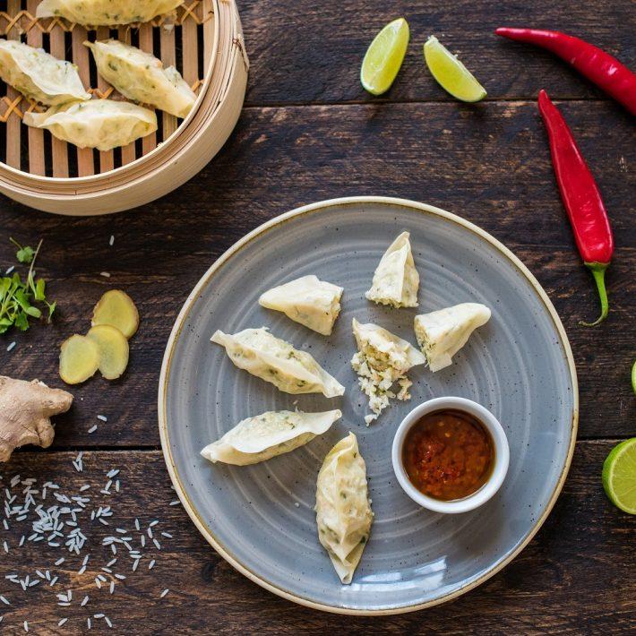 Chinese potsticker-dumplings met garnalen
