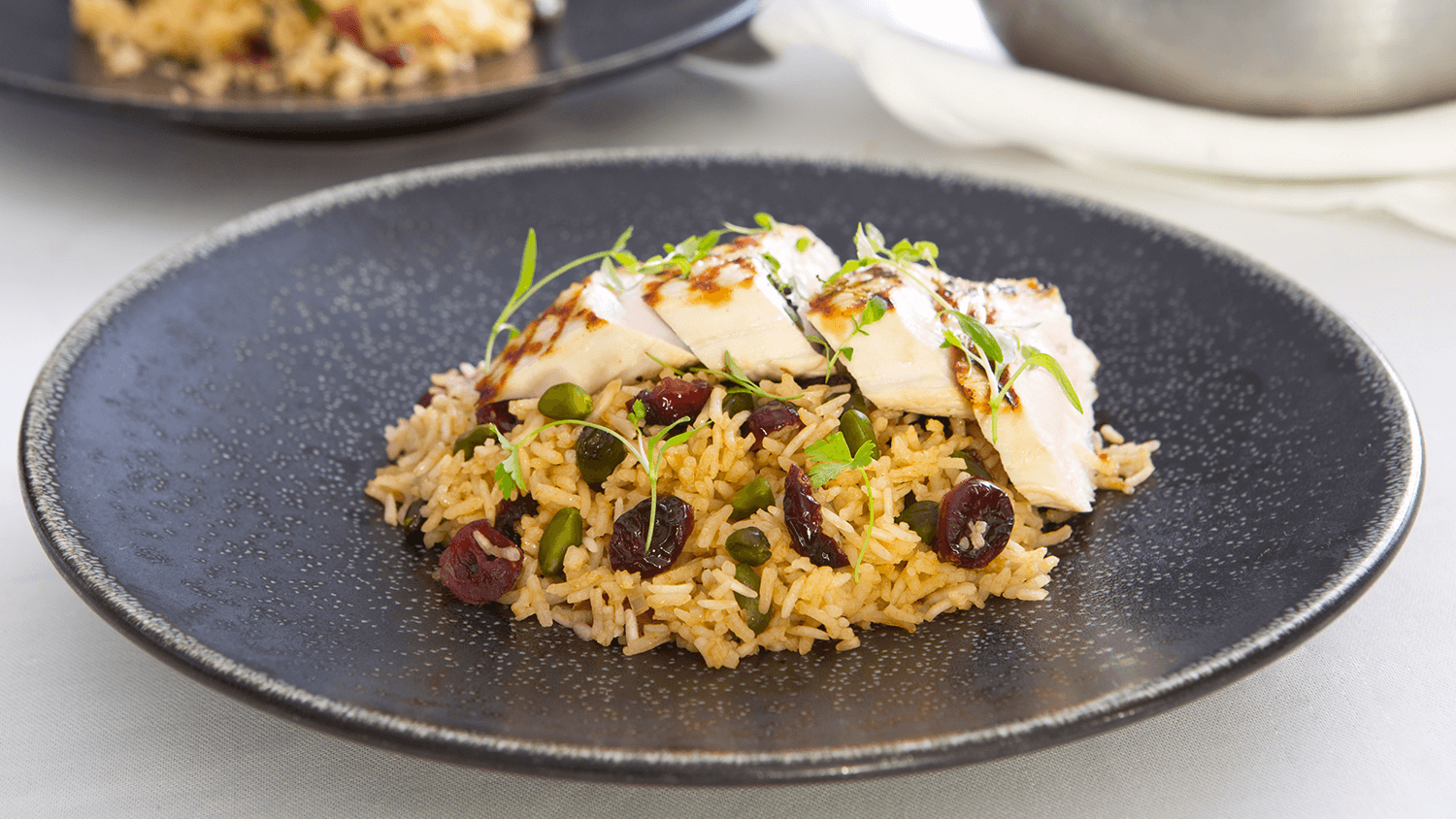 Basmati Pilaf with Turkey, Pistachio, Cranberries, Parsley and Thyme