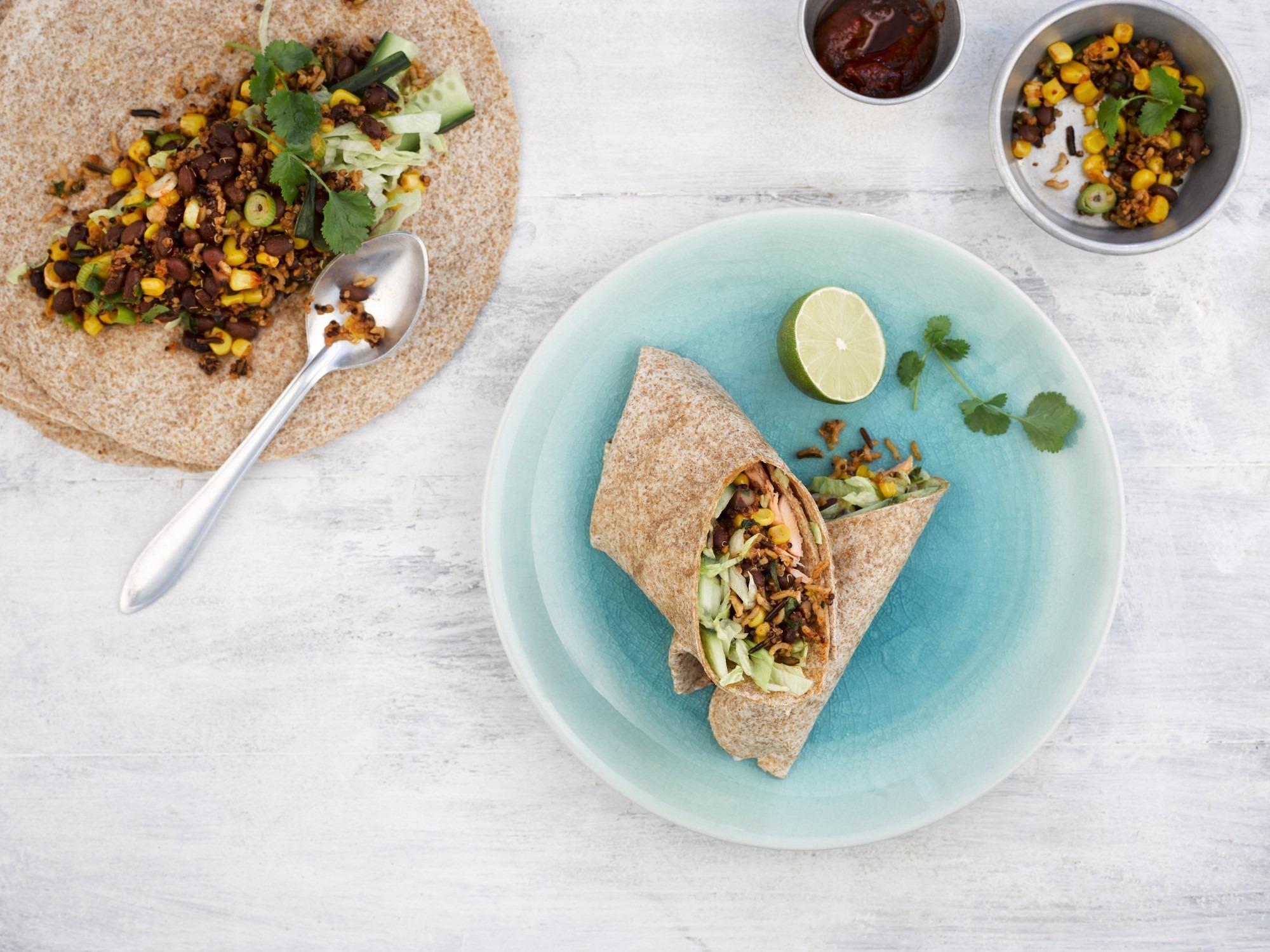 Super Grains - Mexican salmon, black bean and chipotle burrito