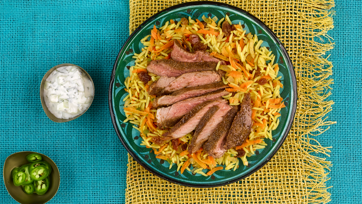 Kabuli Pilau with Lamb Steak