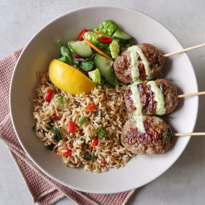 Spicy Kebabs with Wholegrain Rice