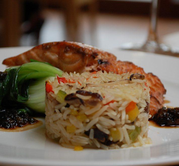 Teriyaki Salmon with Shiitake Mushroom and Pepper Basmati Rice