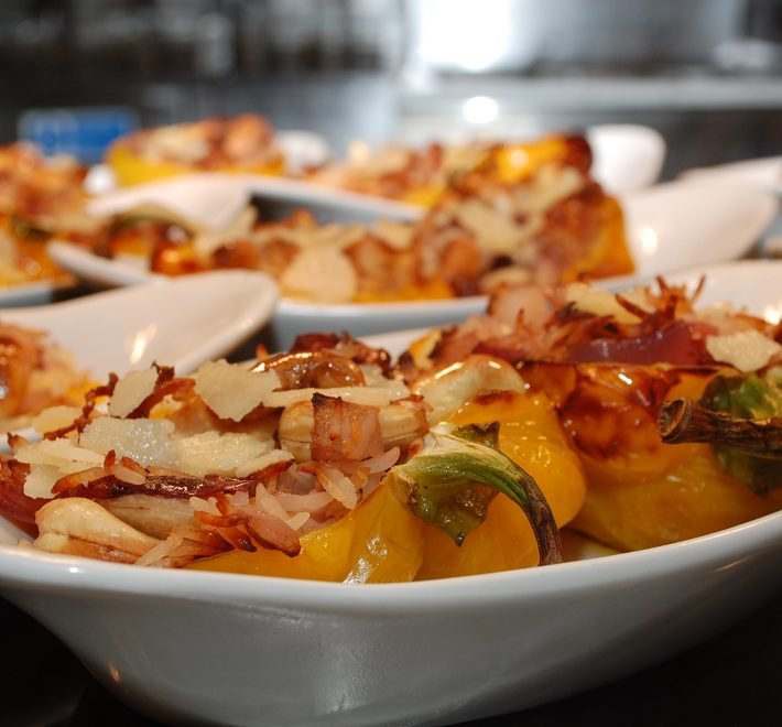 Stuffed Peppers with Cashew Nuts and Red Onion