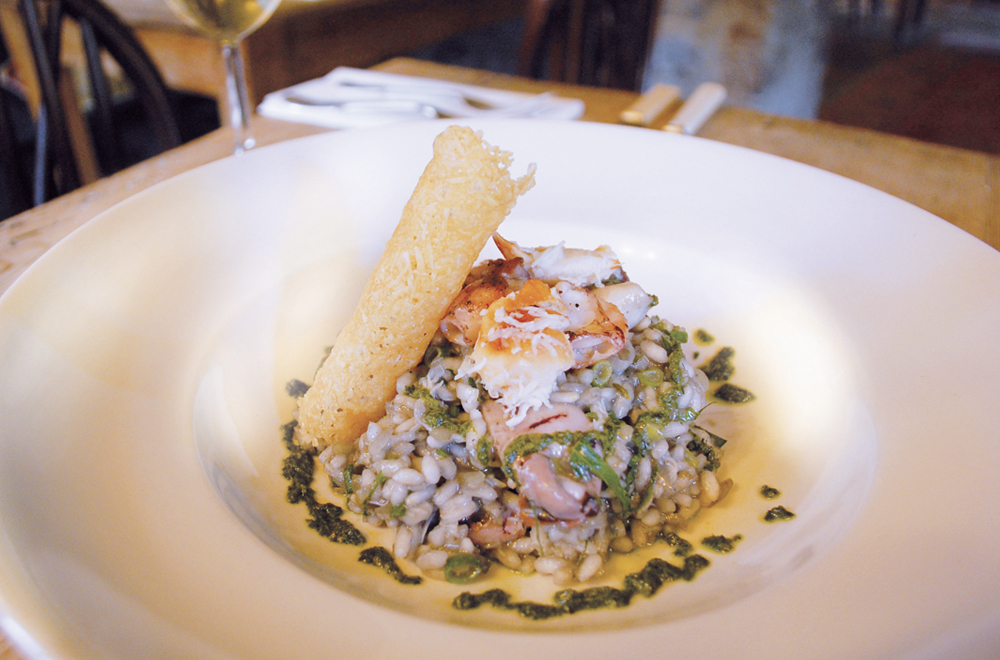 Start Bay Crab, Chipirones and Squid Ink Risotto