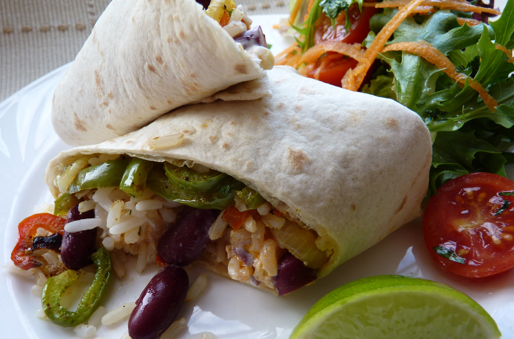 Spicy Vegetable and Bean Burritos