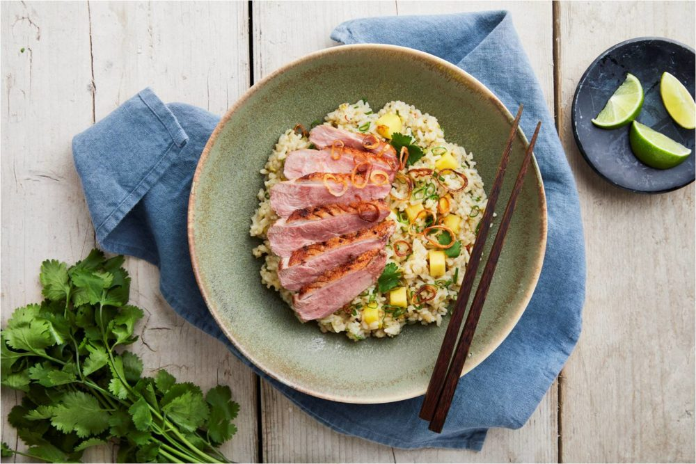 Duck Breast with Red Curry-Infused Fragrant Jasmine Rice