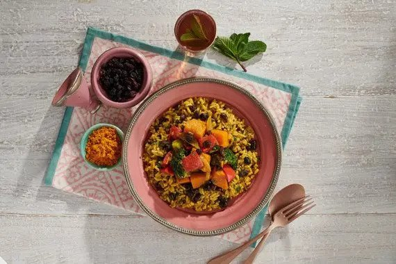 Hearty Vegetable Stew with Middle Eastern Rice & Black Beans