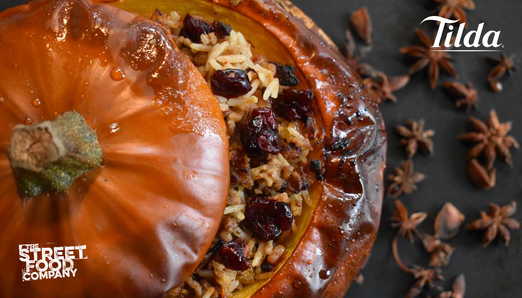 Honey-Glazed Pumpkins stuffed with Cranberry-Chilli Lamb Rice