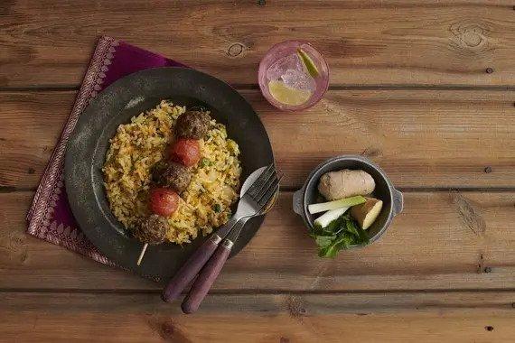 Indian Lamb Koftas with Coconut Rice