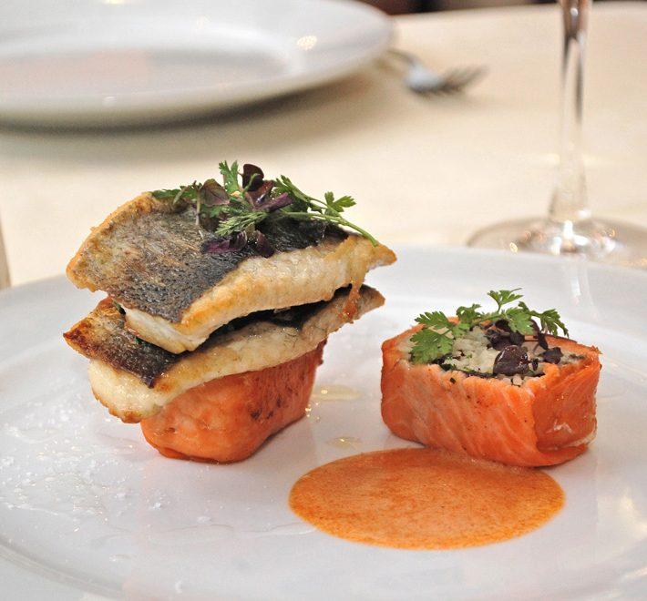 Pan-fried Sea Bass on Smoked Salmon