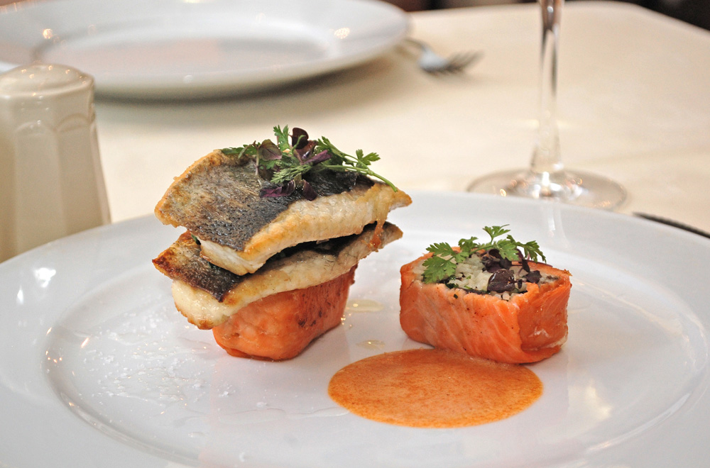Pan-fried Sea Bass on Smoked Salmon