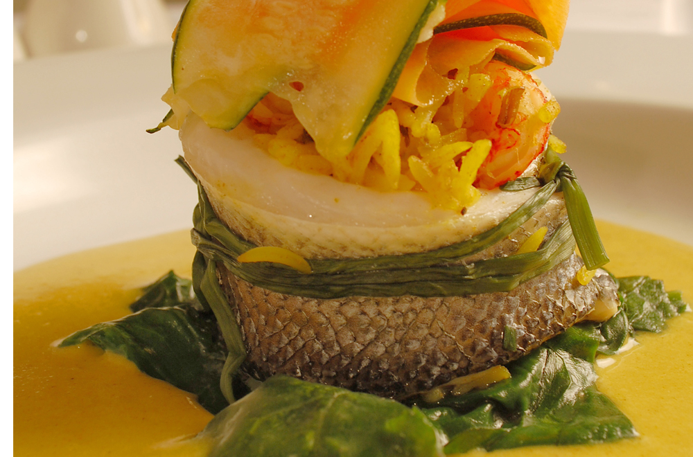 Paupiette of Sea Bass with a Korma Flavoured Basmati & Crayfish Stuffing