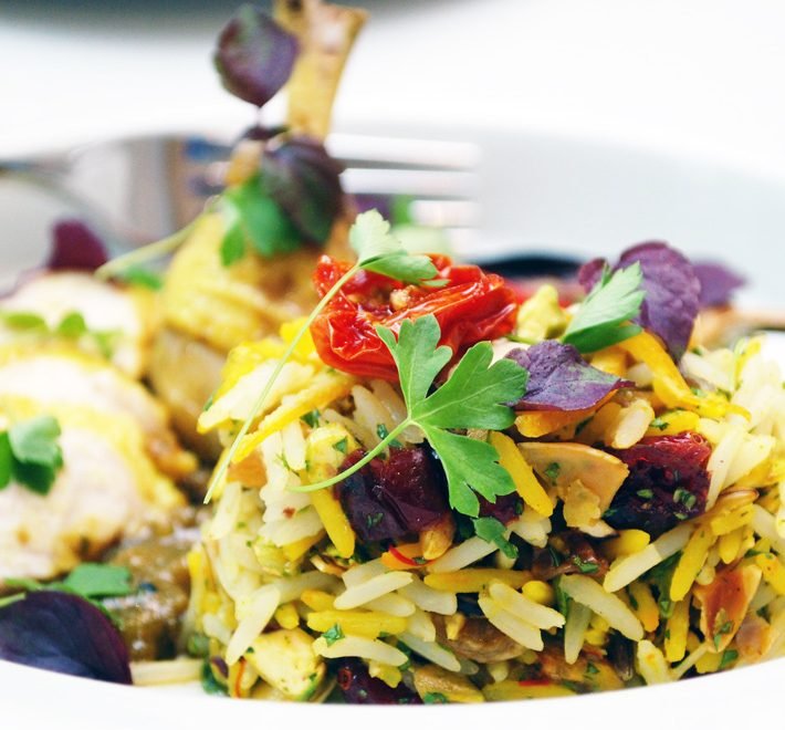Persian Jewelled Basmati & Wild Rice with Moroccan Spiced Poussin