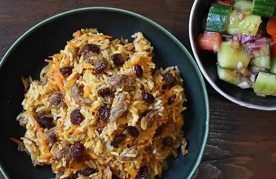 Uyghur Ginger-Cumin Lamb Polo Rice with Smashed Cucumber Salad